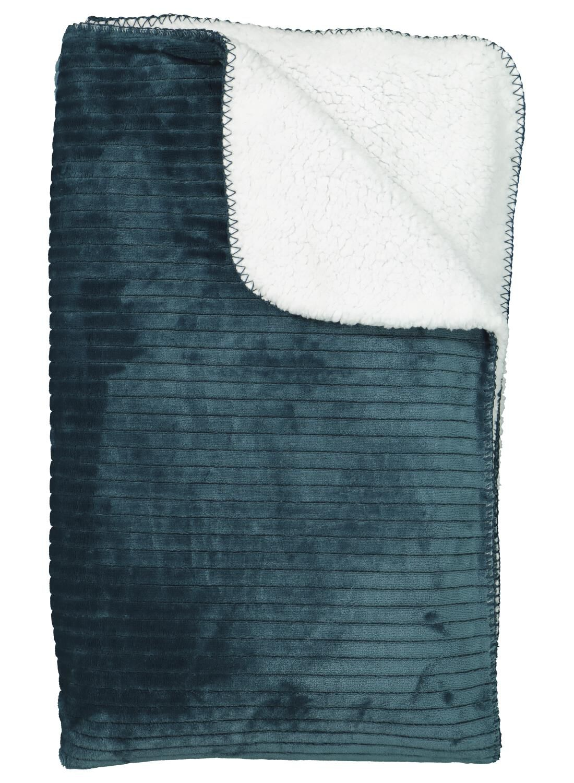 HEMA Scherpa Plaid - 130 X 150 - Donkergroen Rib (groen)