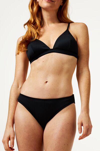 dames bikinitop zonder beugel - rib zwart S - 22340162 - HEMA