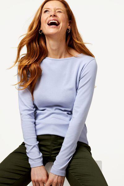 dames t-shirt boothals lichtblauw XL - 36248064 - HEMA