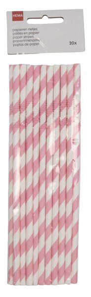 papieren rietjes buigbaar 20 stuks roze - 14200521 - HEMA