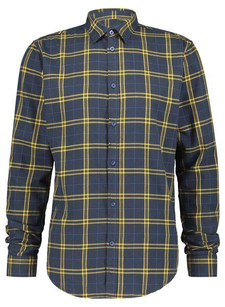 herenoverhemd flanel donkerblauw donkerblauw - 1000016824 - HEMA