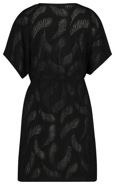 damesjurk - bladeren zwart zwart - 1000023632 - HEMA