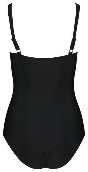 dames badpak medium control zwart/wit M - 22310192 - HEMA