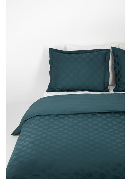 dekbedovertrek - hotel katoen satijn - 240 x 220 cm - groen stip donkergroen 240 x 220 - 5710049 - HEMA