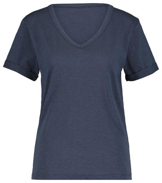 dames t-shirt donkerblauw donkerblauw - 1000019897 - HEMA