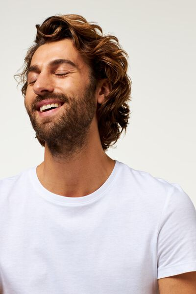 heren t-shirt regular fit o-hals - 2 stuks wit wit - 1000009578 - HEMA
