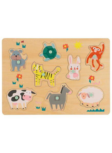 houten inlegpuzzel dieren - 15190256 - HEMA