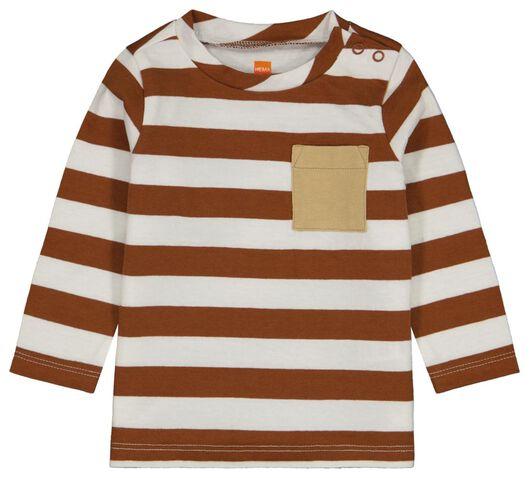 baby t-shirt strepen bruin bruin - 1000024468 - HEMA