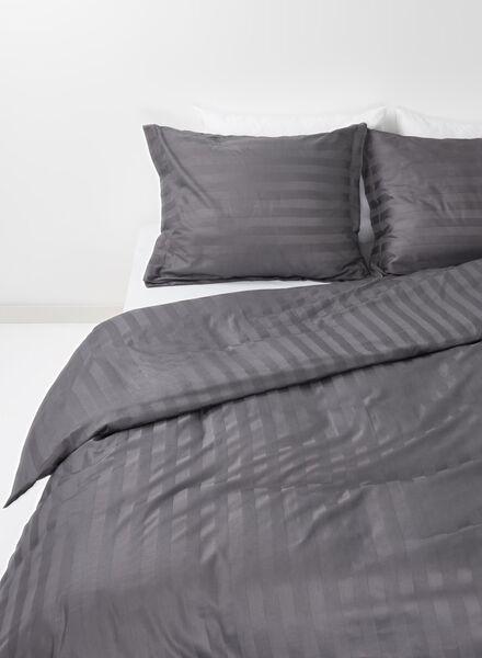 dekbedovertrek - hotel katoen satijn - streep grijs grijs - 1000014104 - HEMA