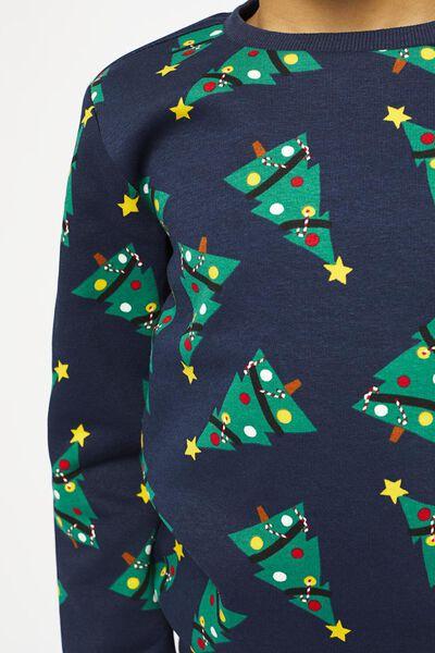 kindersweater kerstbomen donkerblauw donkerblauw - 1000021912 - HEMA
