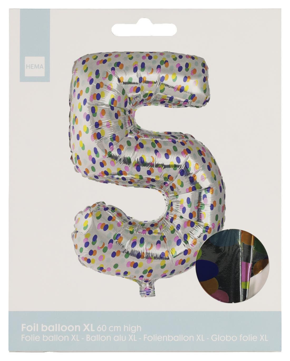 HEMA Folieballon XL Cijfer 5 - Confetti (multi)