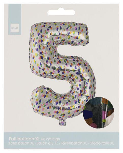 folieballon XL cijfer 5 - confetti zilver 5 - 14230275 - HEMA