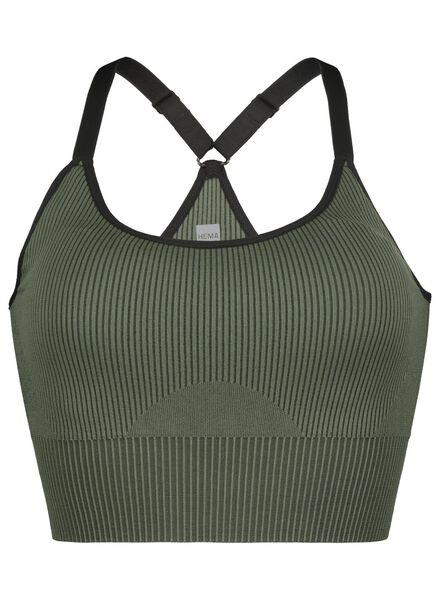 padded sport top - naadloos legergroen legergroen - 1000016503 - HEMA