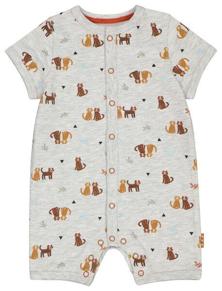 newborn jumpsuit cheetahs grijsmelange grijsmelange - 1000023573 - HEMA