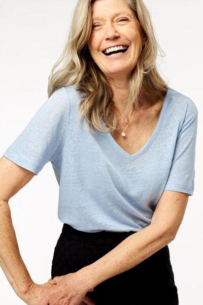 dames t-shirt linnen lichtblauw lichtblauw - 1000024304 - HEMA