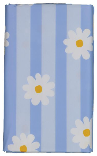 tafelzeil 140x240 streep/bloem - wit/blauw - 5390002 - HEMA