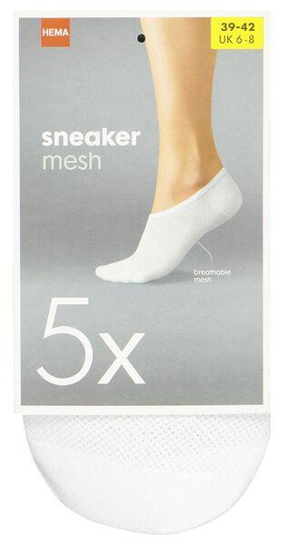 sneakersokken 5 paar wit 35/38 - 4049806 - HEMA