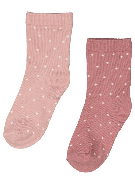 2-pak babysokken met bamboe roze 24-30 m - 4763345 - HEMA