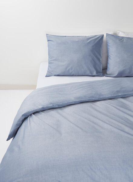 dekbedovertrek - chambray katoen - 200 x 200 cm - blauw lichtblauw 200 x 200 - 5700075 - HEMA