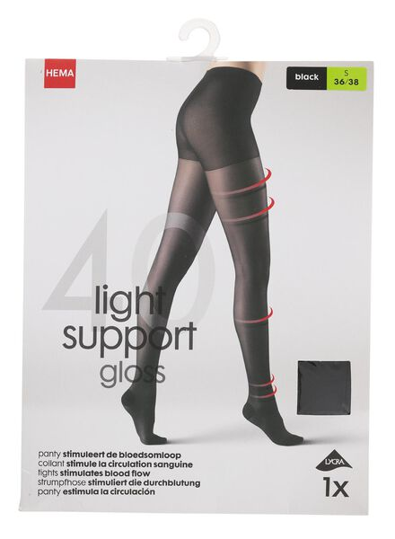 light control gloss panty 40 denier zwart 40/42 - 4042332 - HEMA