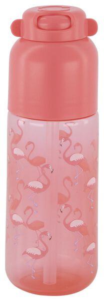 waterfles met rietje 300ml flamingo - 80600108 - HEMA