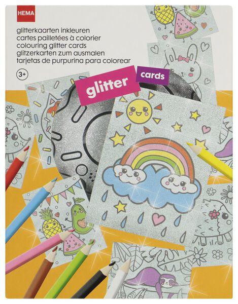 glitterkaarten inkleuren - knutselset - 15920052 - HEMA
