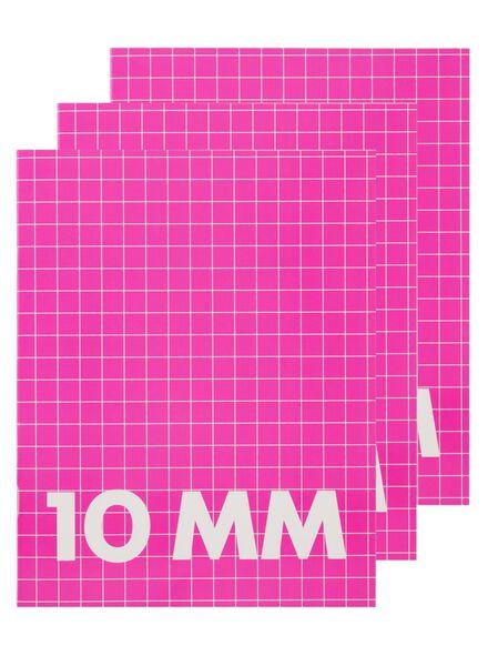 3-pak A5 schriften geruit 10mm - 14522503 - HEMA