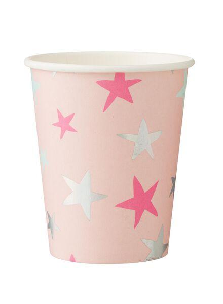 papieren bekertjes - 250 ml - roze ster - 8 stuks - 14230115 - HEMA