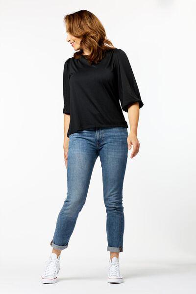 dames t-shirt met pofmouw zwart zwart - 1000025292 - HEMA