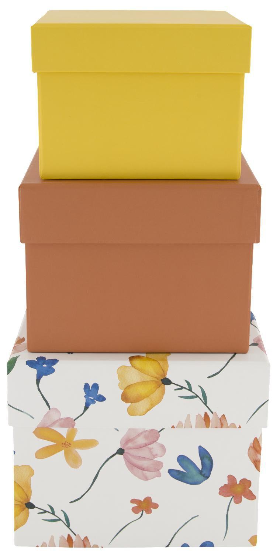 HEMA Opbergdoos Karton Bloemen Oranje 3 Stuks