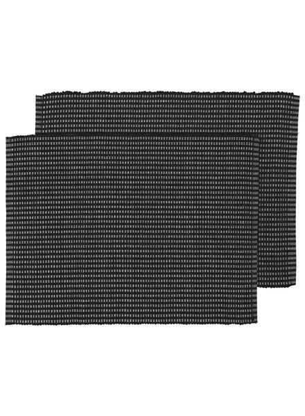 HEMA Placemats - 42 X 32 - Katoen - Zwart - 2 Stuks (zwart)