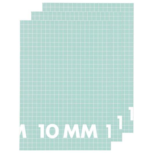Schriften A4 geruit 10x10mm mint - 3 stuks - in Schriften
