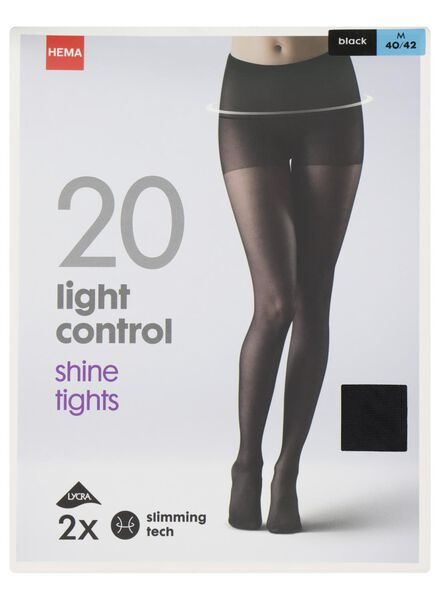 2-pak panty light control shine 20 denier zwart zwart - 1000000929 - HEMA