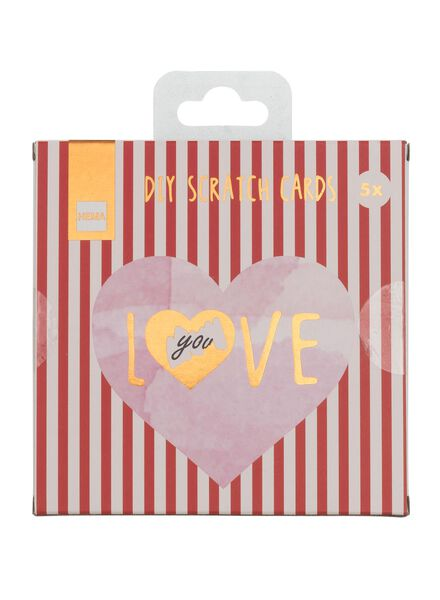 5-pak kraskaarten hart - 60800554 - HEMA