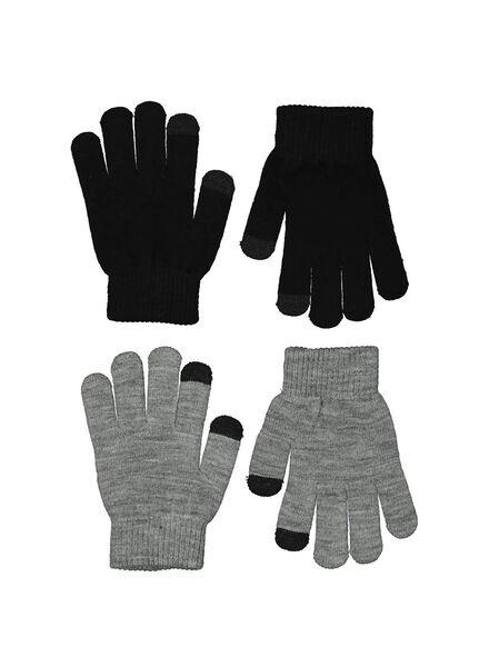 2-pak kinderhandschoenen touchscreen grijs - 1000014511 - HEMA