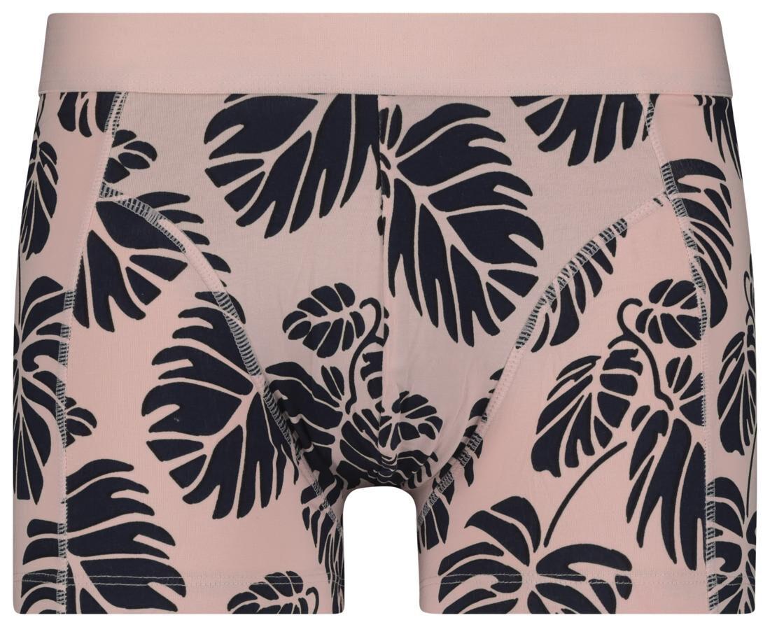HEMA Herenboxer Kort Katoen Stretch - Bladeren Roze (roze)
