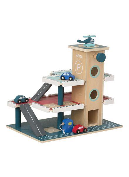 houten parkeergarage met voertuigen 37 x 45 x 30 cm - 15122271 - HEMA