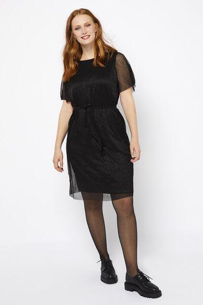 damesjurk plissé zwart M - 36232567 - HEMA