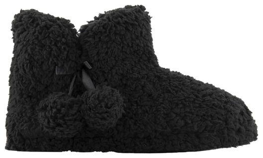 damessloffen teddy zwart 41/42 - 23421993 - HEMA