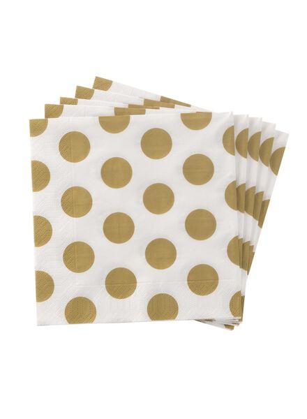 servetten - 33 x 33 - papier - goud stippen - 20 stuks - 14230072 - HEMA