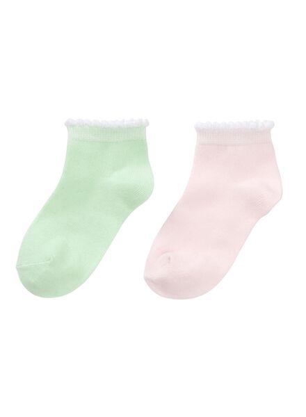 2-pak kindersokken roze roze - 1000012567 - HEMA