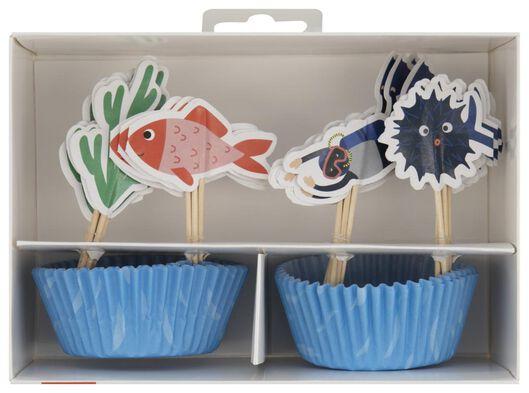 cupcake set - onder water - 24 stuks - 14200327 - HEMA
