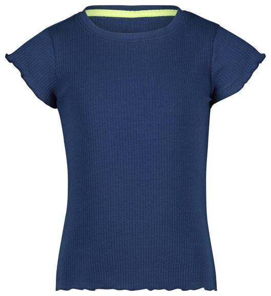 kinder t-shirt rib donkerblauw 122/128 - 30851452 - HEMA