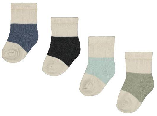 babysokken met bamboe - kleurblokken - 4 paar blauw blauw - 1000023520 - HEMA