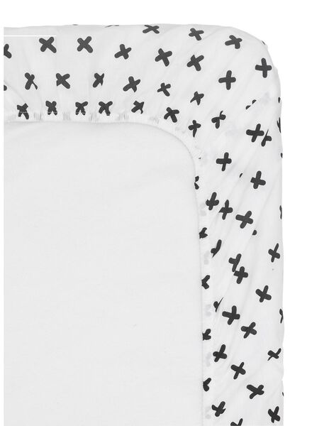 hoeslaken - 140 x 200 - zacht katoen - wit kruisje - 5150012 - HEMA