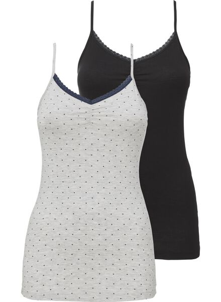 2-pak dames nachttops grijsmelange grijsmelange - 1000002895 - HEMA