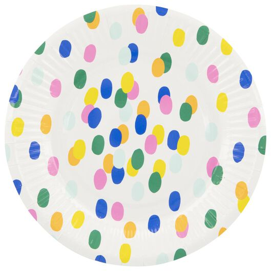 papieren bordjes - 17.5 cm - confetti - 8 stuks - 14200285 - HEMA