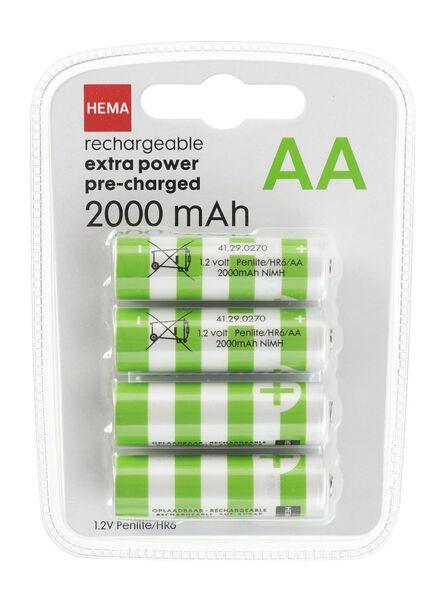 4-pak oplaadbare batterijen 2000 mAh - 41290270 - HEMA