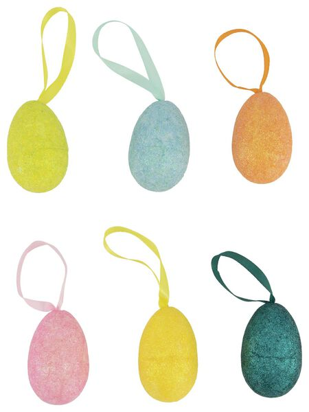 decoratie eieren glitter  6 cm - 6 stuks - 25800329 - HEMA