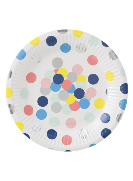 papieren bordjes - 18 cm - confetti - 8 stuks - 14230062 - HEMA